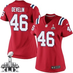 New England Patriots James Develin Official Nike Red Elite Women's Alternate Super Bowl XLIX NFL Jersey