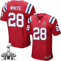 New England Patriots James White Official Nike White Elite Adult Red Alternate Super Bowl XLIX NFL Jersey