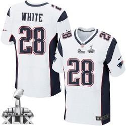 New England Patriots James White Official Nike White Elite Adult Road Super Bowl XLIX NFL Jersey